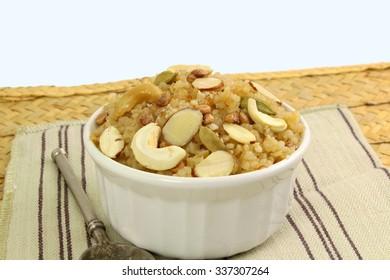 indian gujrati sweet food lapsi broken wheat sweet pudding payasam pongal or daliya sheera