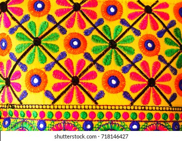 Indian handicraft background yellow, red, blue and green