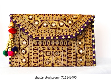 Indian Handicraft purple handbag, purse front view