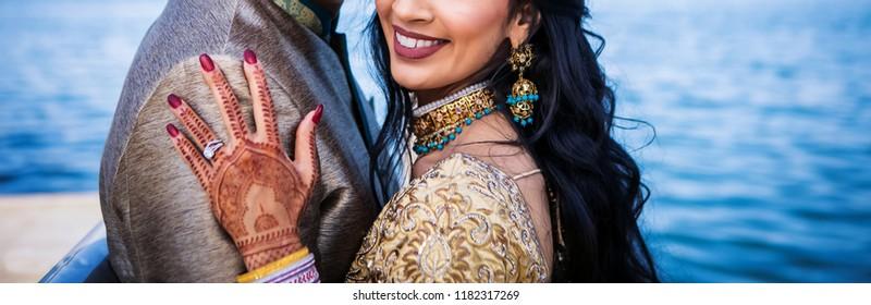 Indian happy newlywed couple Hugging wedding style Karachi, Pakistan September 01, 2018