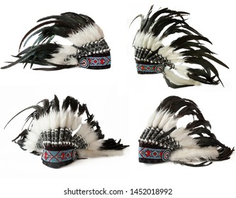 Indian hat with feathers isolated on white background, native cap of Indian with feathers and decorations, set