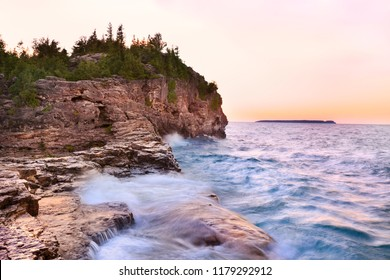 Indian Head Cove at sunset in Georgian Bay, Lake Huron, Canada
