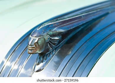 Indian Head Hood Ornament from a vintage 1950's automobile