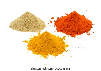 Indian Heap of Colourful Spices Also Know as Red Chilli Powder, Turmeric Powder, Coriander Powder, Mirchi, Mirch, Haldi, Dhaniya Powder Isolated on White Background