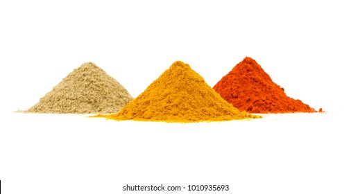 Indian Heap of Colourful Spices Also Know as Red Chilli Powder, Turmeric Powder, Coriander Powder, Mirchi, Mirch, Haldi, Dhaniya Powder Isolated on White Background