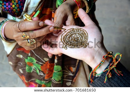 Indian Henna Hand Painting Mehndi Art Stock Photo Edit Now