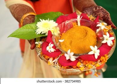 Indian hindu bride with mehendi heena