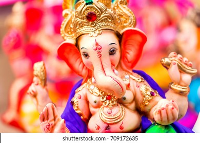 Indian Hindu God Lord Ganesha Statues made of clay and soil, Coated with color sold for Ganesh Chathurthi