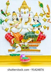 Indian or Hindu God Named Vijaya Ganapati at Wat Saman, Chachoen