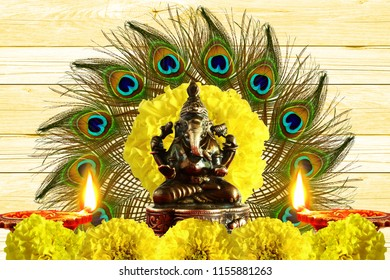 indian hindu religious concept for ganesh puja  diwali new year or pongal greeting