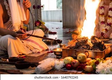 Indian Hindu Traditional Pooja. Vedic fire ceremony called Yagya. Indian wedding of vivah Yagya. items for the Indian Yajna ritual. the place of traditional Vedic sacrifice yagyashala
