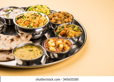 Indian or Hindu Veg Thali also known as Food platter is a complete Lunch/Dinner Meal, Closeup, selective focus