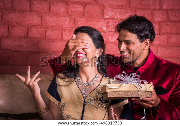 Indian Husband Surprising Wife Gift On Stock Photo Edit Now 498319753