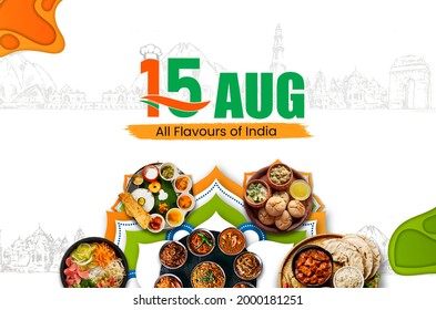 Indian Independence Day concept, all indian foods flavours