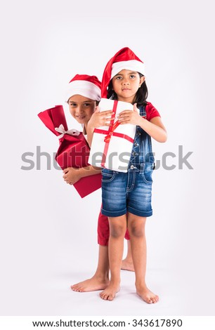 Indian Kids Christmas Gifts Isolated Over Stock Photo (Edit Now