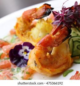 Indian king prawn tikka appetizer