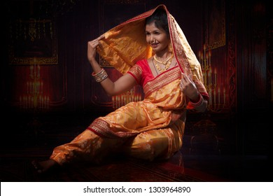 Indian lady performing maharashtrian fold dance called Lavani