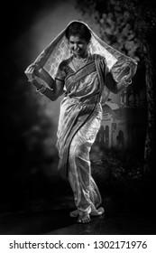 Indian lady performing Maharatrian folk dance called Lavani