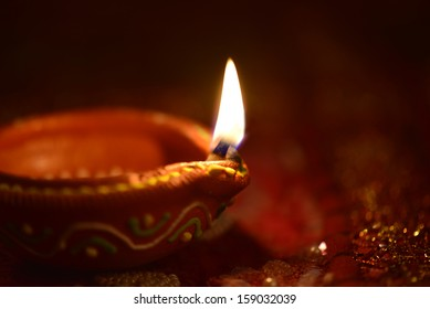 An Indian lamps on dark background.