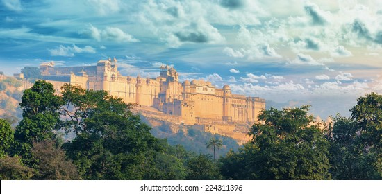 Indian landmarks - panorama with Amber fort. Jaipur city