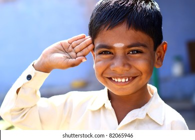 Indian little boy with happy expression.