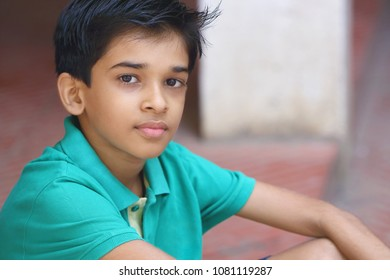 Indian Little Boy Posing to Camera