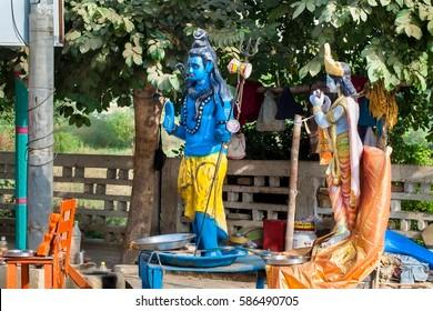 Indian Lord Shiva statue on the street in the shop. Govardhan Parikrama Marg.India, Govardhan, November 2016