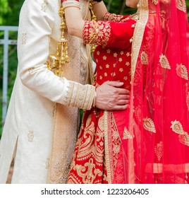 Indian Lovebirds couple  hugging first look wedding day