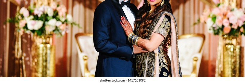 Indian lovebirds couple's Sweet hugging at their wedding day Lahore, Pakistan, March 05, 2019