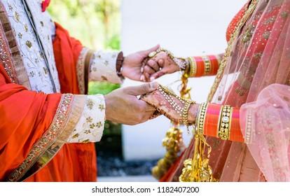 Indian lovebirds holding hands