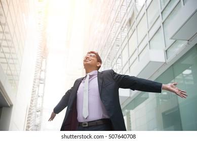 indian male business man celebrating success