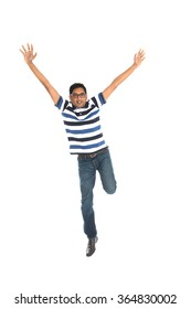 indian male jumping in joy