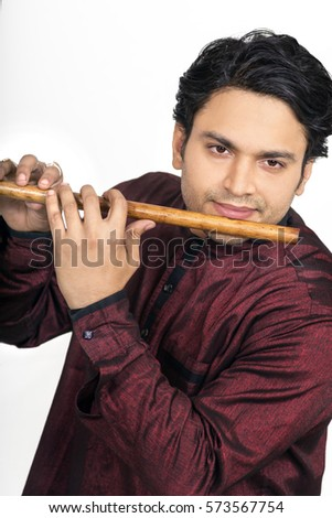 3265e5c472 Indian Male Model Playing Flute Dark Stock Photo (Edit Now ...