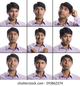 Indian man 9 facial expressions composite
