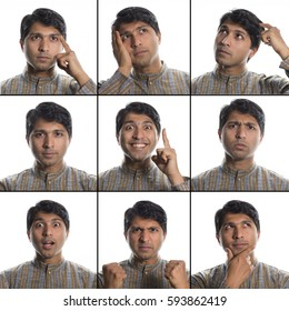 Indian man 9 facial expressions composite