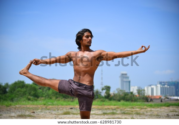 Indian Man Doing Yoga Poses Sunny People Stock Image 628981730