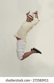 indian man jumping in joy