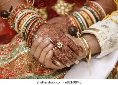 Indian marriage couple hand in hand for ritual bride and groom