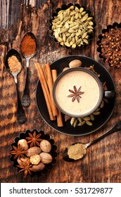 Indian masala chai with spices.