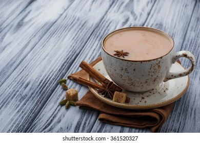 Indian masala tea with spices. Selective focus