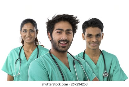 Indian medical team standing. Isolated on white background.