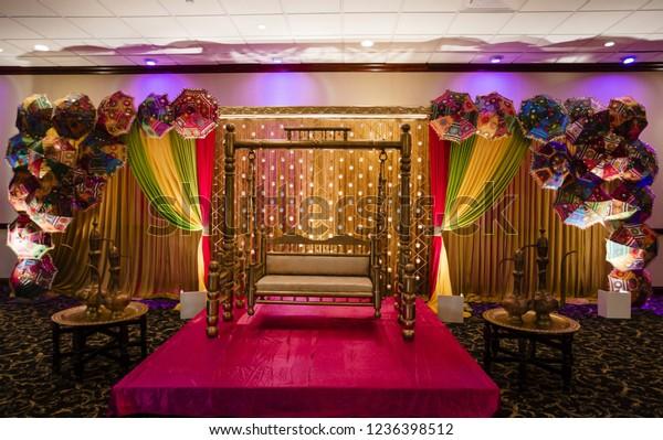 Indian Mehndi Stage Decoration Karachi Pakistan Stock Photo