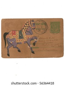 Indian miniature painting of horse,  on vintage postcard Udaipur, India