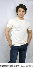 indian model in white tshirt front pose