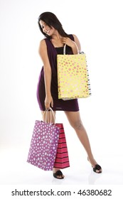 Indian modern girl with shopping bags