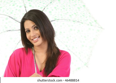 Indian modern woman with umbrella