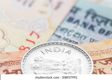Indian money banknote focus on coin india