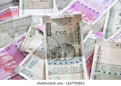 Indian money and banknotes, 500 rupees and 2,000 rupees. Background of paper Indian money.