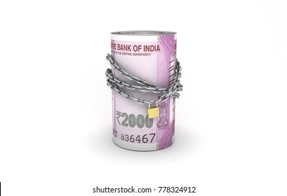 Indian Money and chain - 3D Rendered Image