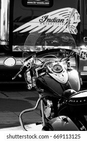 Indian motorbike in black and white.The photo was taken in Montpelier, France, on march,2017 at a motorbke exhibition.